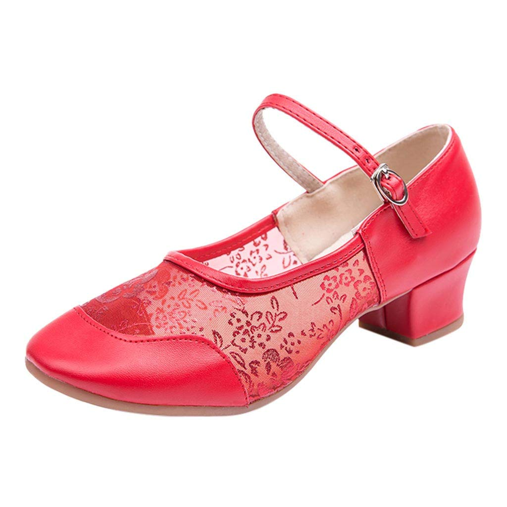 HENWERD Breathable Practice Jazz Shoes Soft-Soled Leather Ballroom Dance Shoes for Women