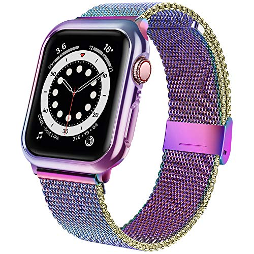 jwacct Bands with Case Compatible for Apple Watch 38mm, Adjustable Bracelet Magnetic Stainless Steel Mesh Strap Sport Loop Compatible for iwatch Series 3/2/1 Women/Men Multicolor