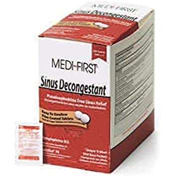 Medique 262896 Medi-First Sinus Decongestant, 100 Tablets, Relieve Sinus Pressure and Congestion, Easy to Swallow Tablets, Phenylephrine HCL, Relieve Cold, Hay Fever, Flu Symptoms