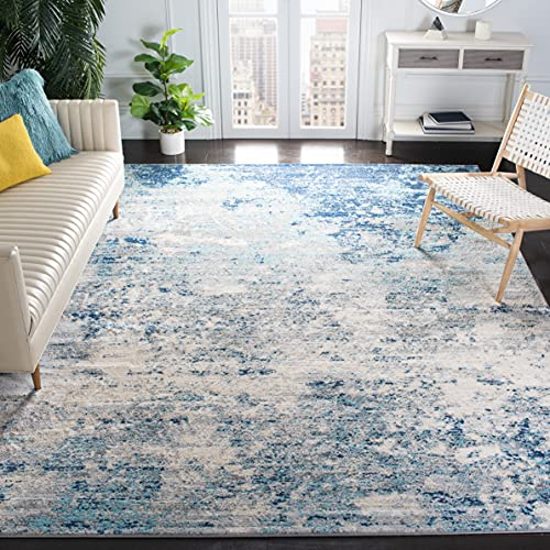 Safavieh Brentwood Collection BNT822F Modern Abstract Non-Shedding Living Room Bedroom Dining Home Office Area Rug, 5'3' x 7'6', Light Grey / Blue