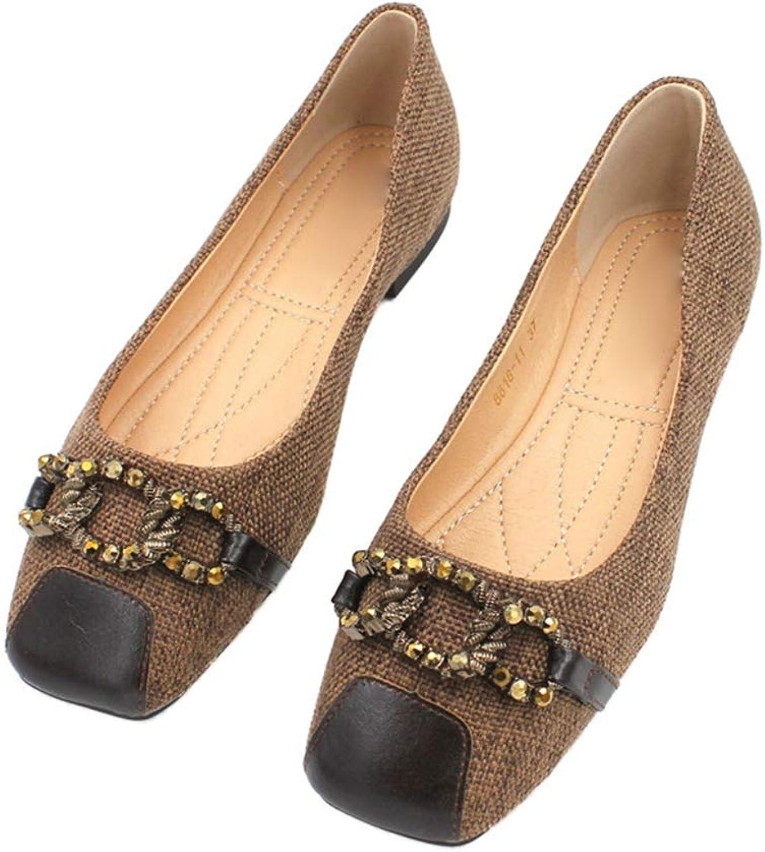 August Jim Women's Flats shoes Square Toe Slip On Ballet Flat shoes Women Wide Width