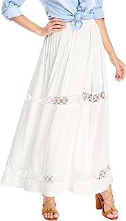 Allegra K Women's Long Skirts Elastic Waist Swing A-Line Lace Insert Maxi Skirt