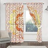 Sophia-Art Par de cortinas de mandala para colgar en la pared, diseño de mandala, color rojo y amarillo