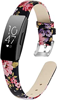 MEFEO Compatible with Fitbit Inspire Bands/Inspire HR Band, Genuine Leather Slim Soft Strap Wristbands Accessories for Fit...
