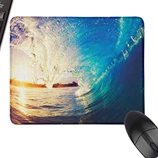 Personalized Mouse Pad Ocean Sunrise on Waves Surfer Perspective Surreal Coastal Charm Sports Lifestyle Scene Easy to Operate,9.8