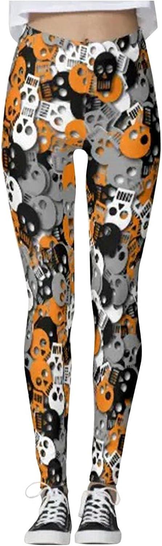 Free shipping anywhere in the nation Huangse Womens Halloween Leggings Pumpkin Yoga Print Pants Max 58% OFF Skull