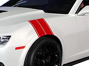 """FGD Fender Hash Stripe Graphics Decal Sticker Set Universal Fits Car Truck or SUV (Hm01) 11""""x23"""" (Red)"""