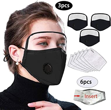Reusable Face Bandanas for Adults with Detachable Eyes Shield and Breathing Valve + Activated Carbon Filter Replaceable Filters, Outdoor Activities, Dust-Proof