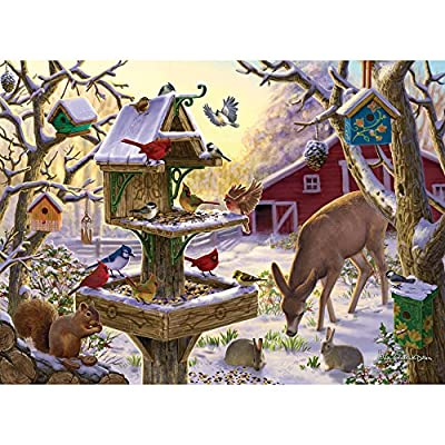 Bits and Pieces - 500 Piece Jigsaw Puzzle for Adults - Sunrise Feasting - 500 pc Animals, Winter Scene Jigsaw by Artist Liz Goodrick-Dillon from Melville Direct