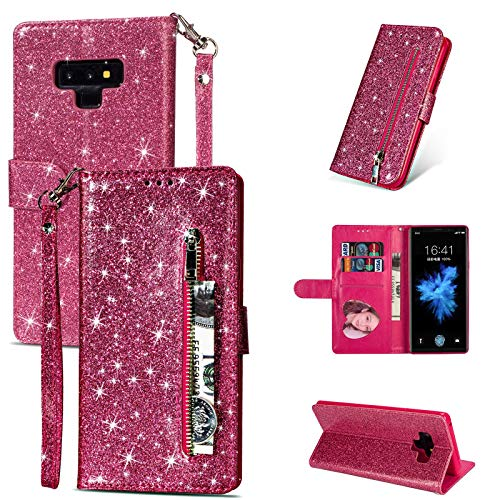 DingHome Bling Glitter Funda para Samsung Galaxy S21 Ultra S20 S10E S9 S8 Plus S7 Note 20 9 10 Tapa de la Billetera con Cremallera del Soporte de Cuero Coque (Color : Rose Red)