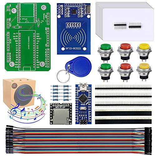 DIY Music Box with Tutorial - NANO module + MP3 DFplayer Module + RFID Kit RC522 Sensor Module with 20x RFID Cards + Resistor + Push Button Switch