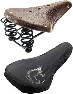 Brooks B67 S Women's Bike Saddle (Aged Tan, Black Laces, Chrome Springs) with Rain Cover Bundle (2 Items)