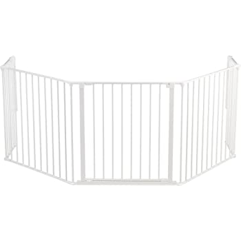 BabyDan Flex Hearth 35.4-109.5 Inch Wide Extra Large Size Safety Baby Gate for Fireplace, Hearths, and Doorways, White