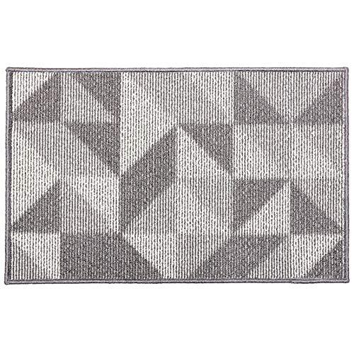 WDong Felpudo para interior y exterior Geometry, antideslizante, absorbente, resistente a la suciedad, 61 x 91 cm, lavable a máquina, 71 x 91 cm, diseño geométrico, color gris