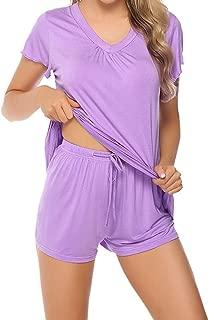 miqiqism Pajama Sets, Womens Pajama Short Sets Cotton Short Sleeve Sleepwear Nightwear Summer Lounge Pj Set