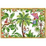 Les Jardins de la Comtesse – Juego de 6 manteles individuales rectangulares – De polipropileno – Resistente – Fácil de lavar – Estampado de Singes de Bali – Blanco/Verde/Rojo – 45 x 30 cm