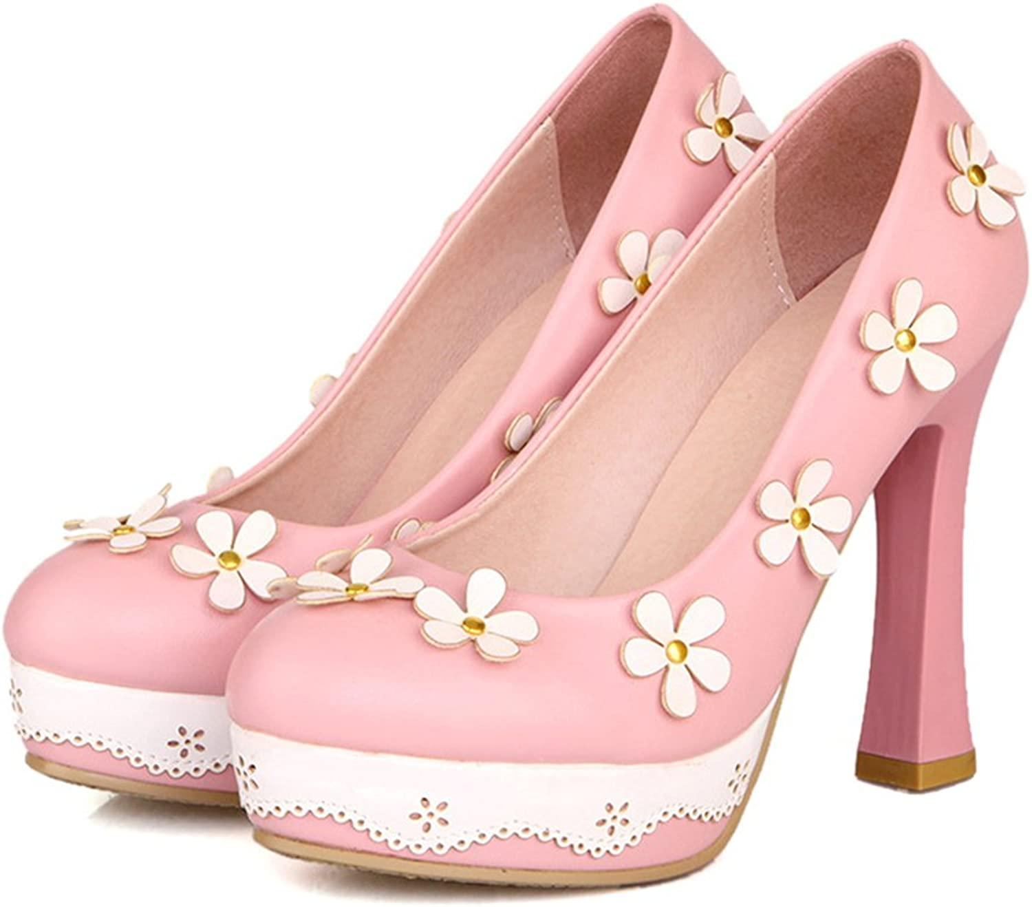 Thick High Heel Platform Flower Splicing Low-cut Round Thin shoes pink 39