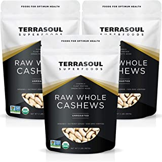 Terrasoul Superfoods Organic Raw Whole Cashews, 6 Pounds