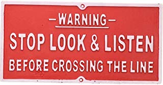Stop Look & Listen Cast Iron Sign Plaque Door Wall Fence Gate Post Garden Red