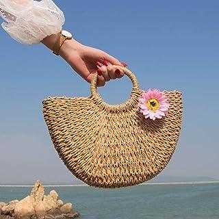 YLGB Stroh Crossbody Handtasche,Strohsack, Damenhandtasche, Damen Strandtasche-Khaki Sonnenblumenpulver_klein,Sommer Stran...