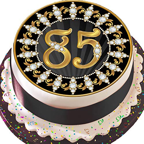 Essbares Zuckerpapier, Runder Tortenaufleger zum 85. Geburtstag, 19,5 cm Durchmesser, Vorgeschnitten, Schwarz und Gold, Z04