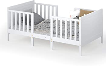 Costzon 2 in 1 Convertible Toddler Bed, Classic Wood Kids Bed w/ 2 Side Guardrails, Headboard, Footboard for Extra Safety,...