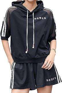 [アイビーストアー] レディース ジャージ セットアップ パジャマ ルームウェア 部屋着 スウェット パーカー 半袖 ショートパンツ ショーパン 上下セット