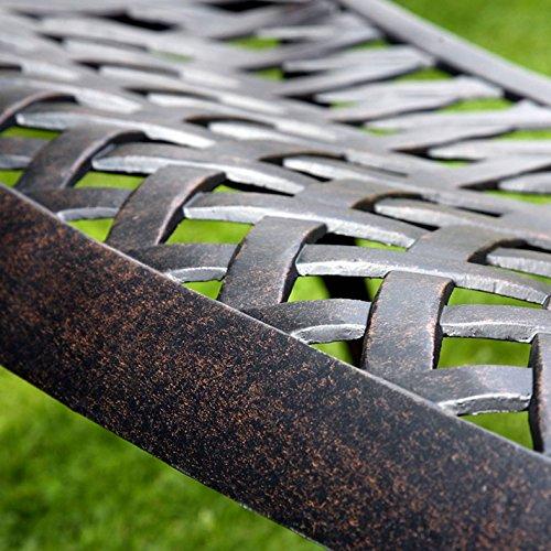 Lazy Susan – GRACE Gartenbank und CLAIRE Rechteckiger Garten Beistelltisch – Gartenmöbel Set aus Metall, Antik Bronze (Blaues Kissen) - 3