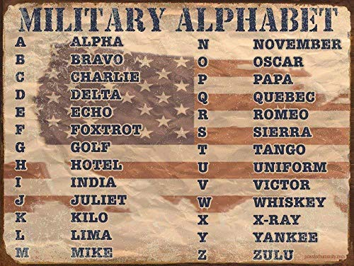 nobrand New Metal tin Sign Military Alphabet Home bar Club Wall Decoration Signs 12x8inch