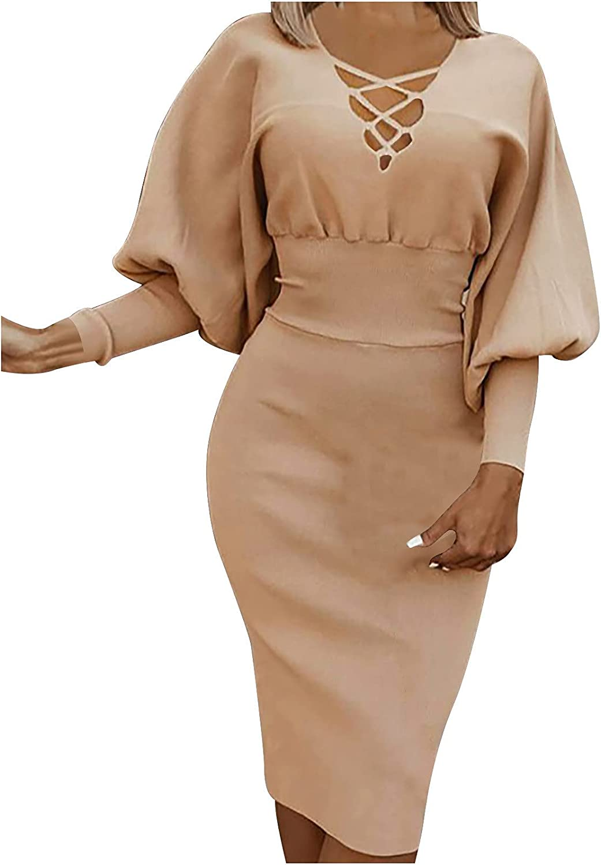 5665 Women's Autumn Casual Slim Solid Color V-Neck Long-Sleeved Hollow Sexy High Waist Bag Hip Skirt Mid-Length Dress