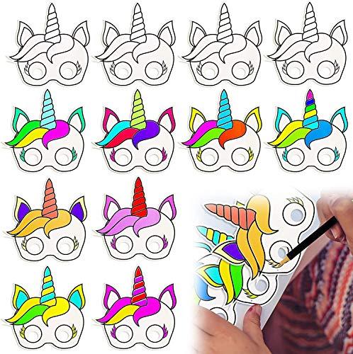 BeYumi 12 Stück DIY Einhorn Papiermasken für Kinder Geburtstag Einhorn Party Favors, weiß, zum selbst Bemalen und Gestalten, für Kinder, Jungen und Mädchen, ideal für Kindergeburtstage und Partys