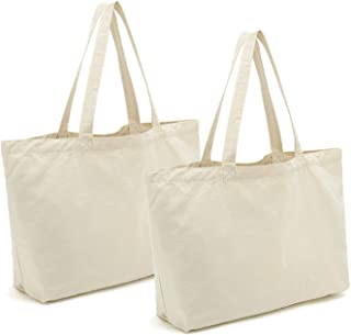 Canvas Tote Bags Heavy Duty Reusable Cotton Grocery Shopping Bags with Bottom Gusset for DIY Crafts Gift Bag Wedding 2pcs,12.2