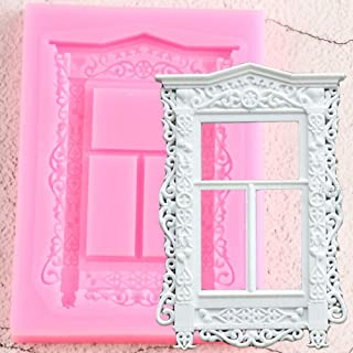 Window Frame Shaped Silicone Mold for DIY Crystal Cupcake Cake Topper Decoration Desserts Chocolate Fondant Mold Soap Mould Ice Cube Pudding Handmade Ice Cream Gum Paste Jelly Shots Candy