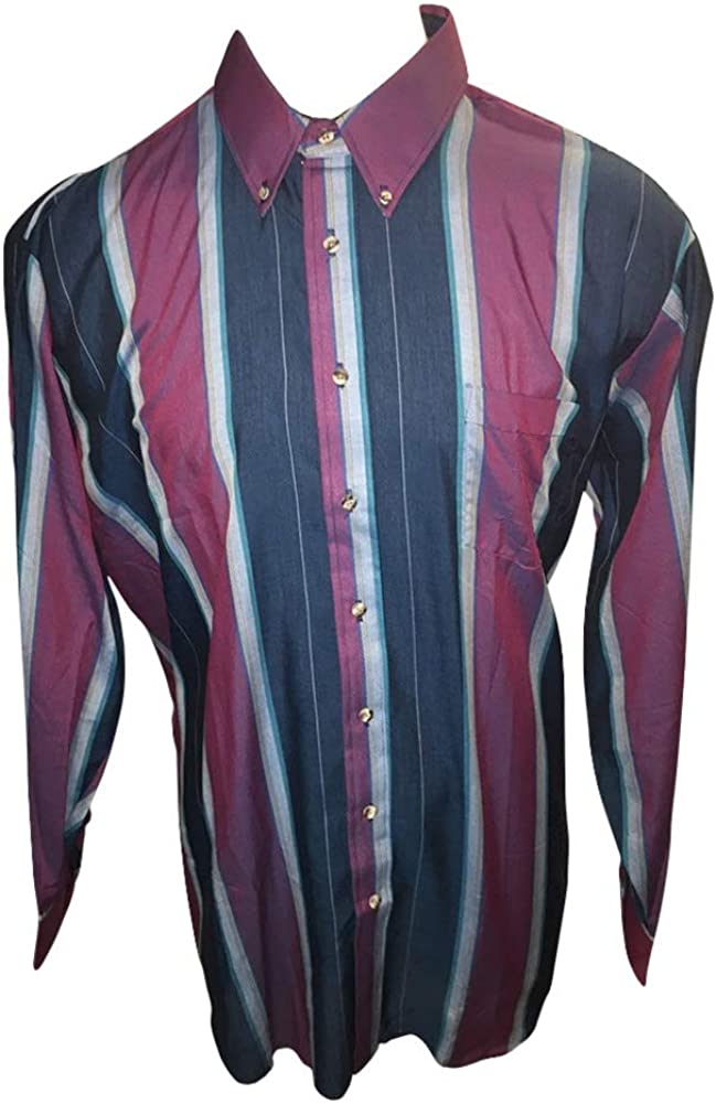 Cambridge Hall Big and Tall USA Made Burgundy Teal Stripe Casual Button Down Shirts