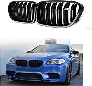 F10 Grilles, Qitian ABS Replacement Front Kidney Grills for 5 Series F10 F11 Glossy Black