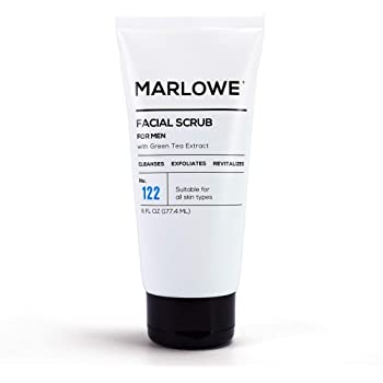 MARLOWE. No. 122 Men's Facial Scrub 6 oz   NEW Improved Formula   Light Daily Exfoliating Face Cleanser   Fresh Sandalwood Scent   Includes Natural Extracts
