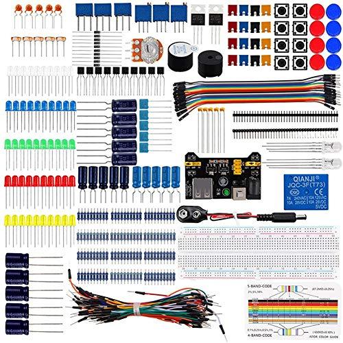 LIZHOUMIL Kit básico de iniciante eletrônico faça-você-mesmo com fios jumper e resistores buzzer para Arduino Uno R3