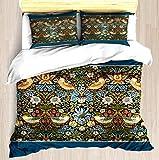 387 William Morris - Juego de funda de edredón y funda de almohada con diseño de pájaros y flores, Microfibra, A10, Doublé