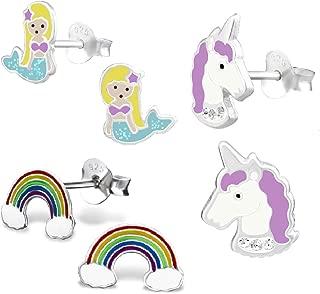 925 Sterling Silver Set of 3 Pairs Mermaid, Purple Unicorn, Rainbow Stud Earrings for Girls (Nickel Free)