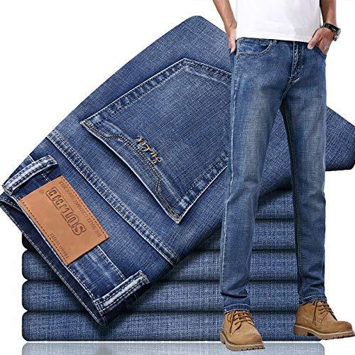 ShSnnwrl Confortable et Doux Jeans Homme Pantalon Hommes Jeans Denim Jeans Élastique Taille Moyenne Pieds Étroits Qualité Coton D