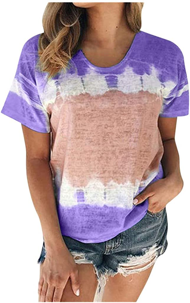 POLLYANNA KEONG T-Shirts for Women,Oversized T Shirts for Women Loose Casual Short Sleeve Tie Dye Tops Tees