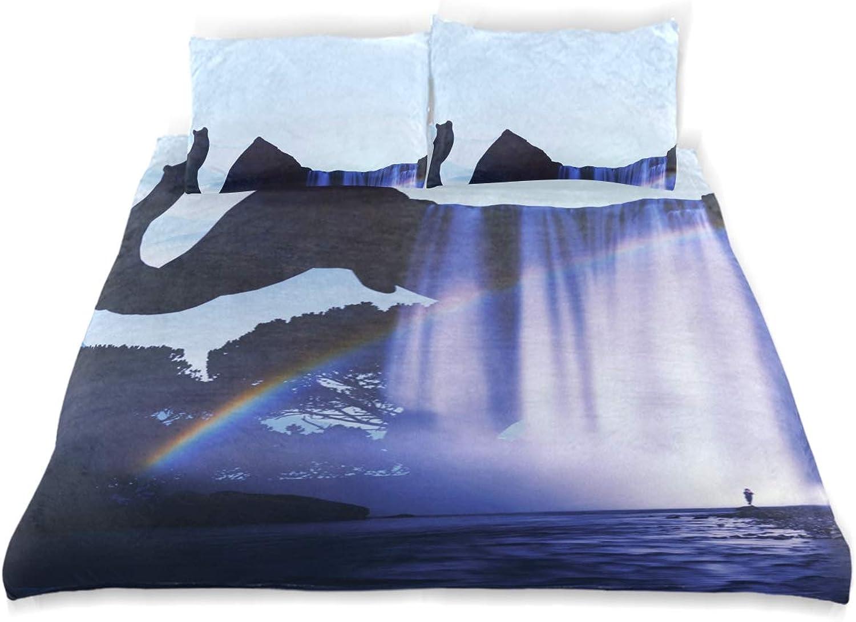 Vipsa Parure de lit 3 pièces Motif éléphant Sauvage 100% Coton avec Fermeture éclair Bio Moderne Parure de lit Full Queen