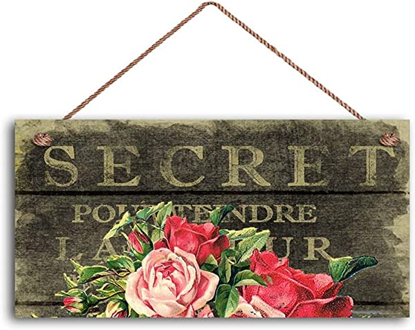 MAIYUAN French Market Sign Vintage Paper And Roses Shabby Chic Sign Cottage Chic Decor 5 X 10 Sign Rustic Sign 1