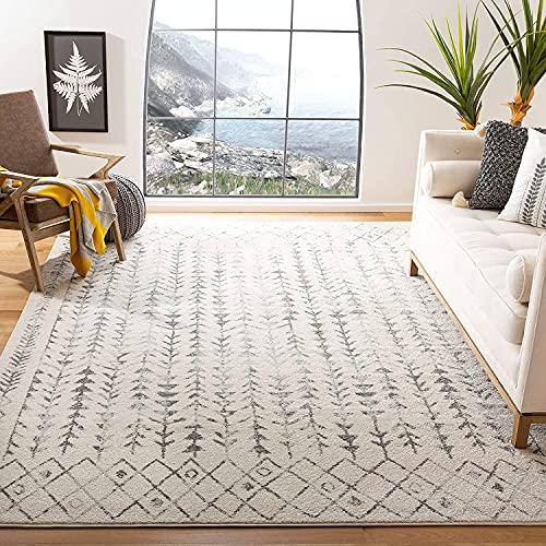 Safavieh Tulum Collection TUL262A Moroccan Boho Distressed Non-Shedding Living Room Bedroom Dining Home Office Area Rug, 5'3' x 7'6', Ivory / Grey
