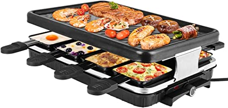 Grille de Table Raclettes Pour 8 Personnes, BITOWAT 1300 W Grille pour Barbecue électrique, Anti-adhésive, Amovible pour I...