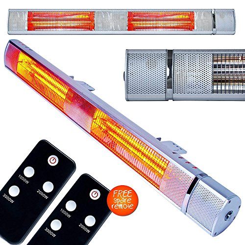 MYLEK 3kW Electric Patio Heater Wall Mountable Outdoor Unit Remote Control IP65 Rated Waterproof Weatherproof & Rustproof Golden Tube Technology