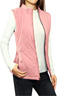 Allegra K Women's Zip Up Front Stand Collar Slant Pockets Quilted Padded Vest XL Dusty Rose