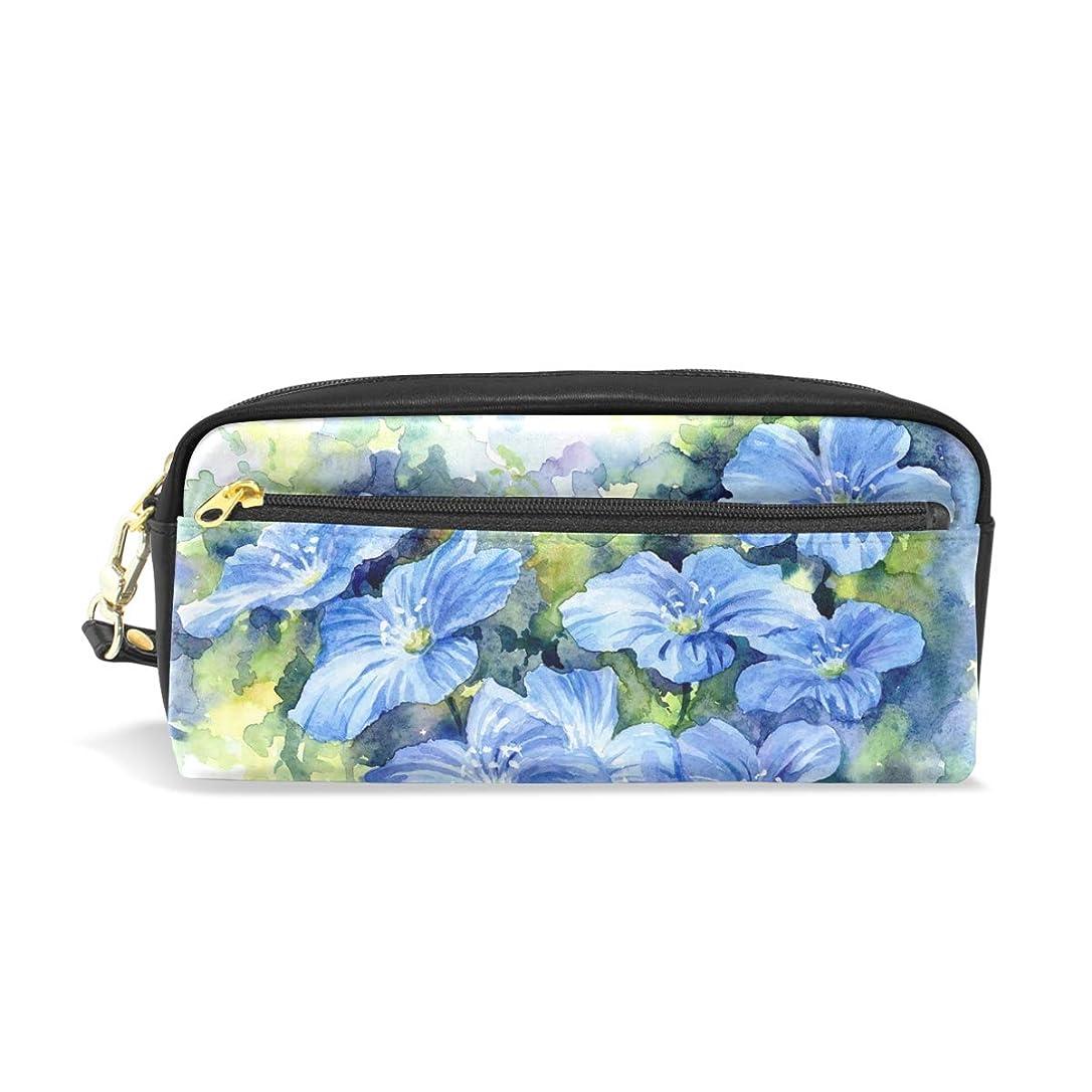 下向き落胆したピーブAOMOKI ペンケース 小物入り 多機能バッグ ペンポーチ 化粧ポーチ 男女兼用 ギフト プレゼント おしゃれ 花柄 ブルー 植物
