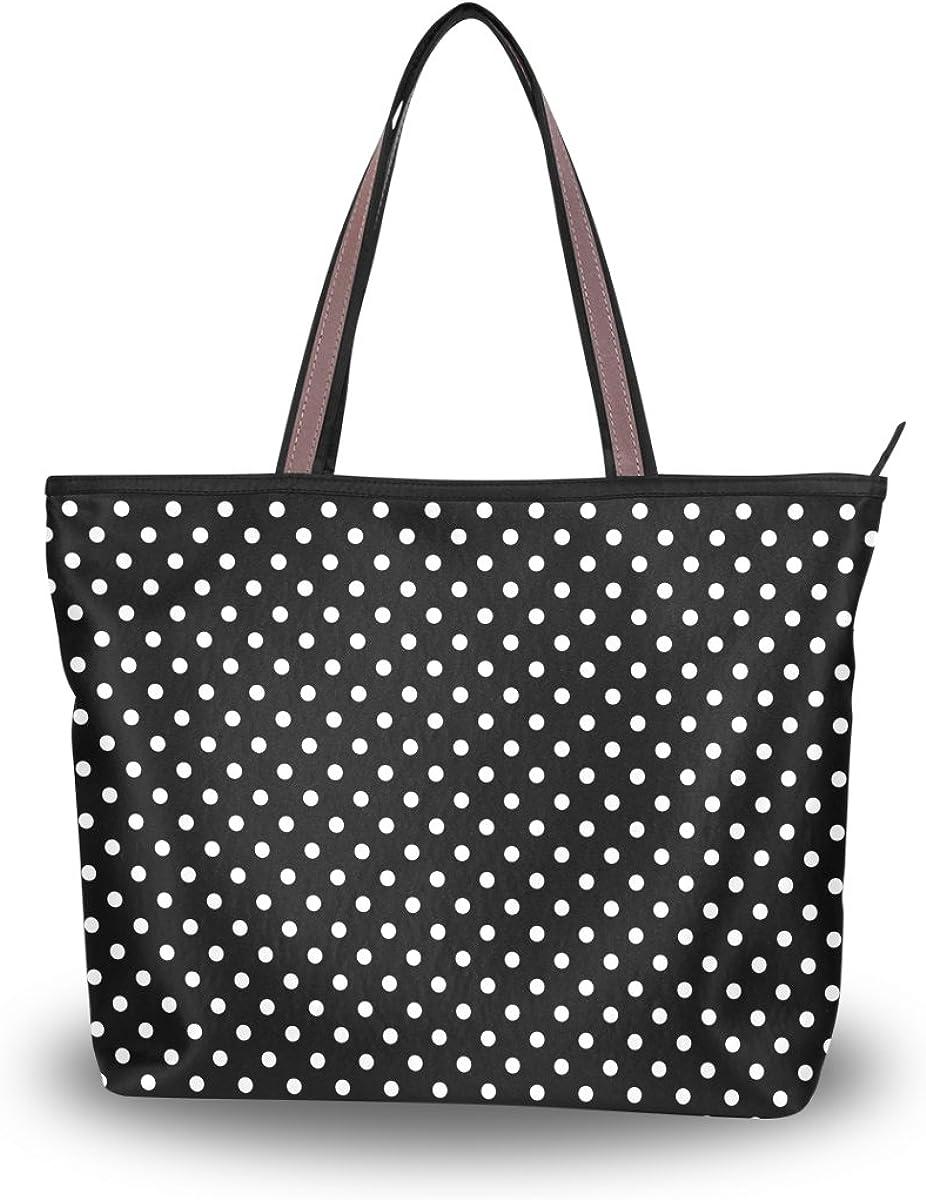 JSTEL Women Large Tote Top Handle Shoulder Bags Black And White Polka Dots Patern Ladies Handbag