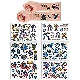 Juego de tatuajes temporales de 6 hojas Superman Batman Transformer Tatuajes falsos temporales pegatinas impermeables para bolsas de regalo Regalos de cumpleaños para niños